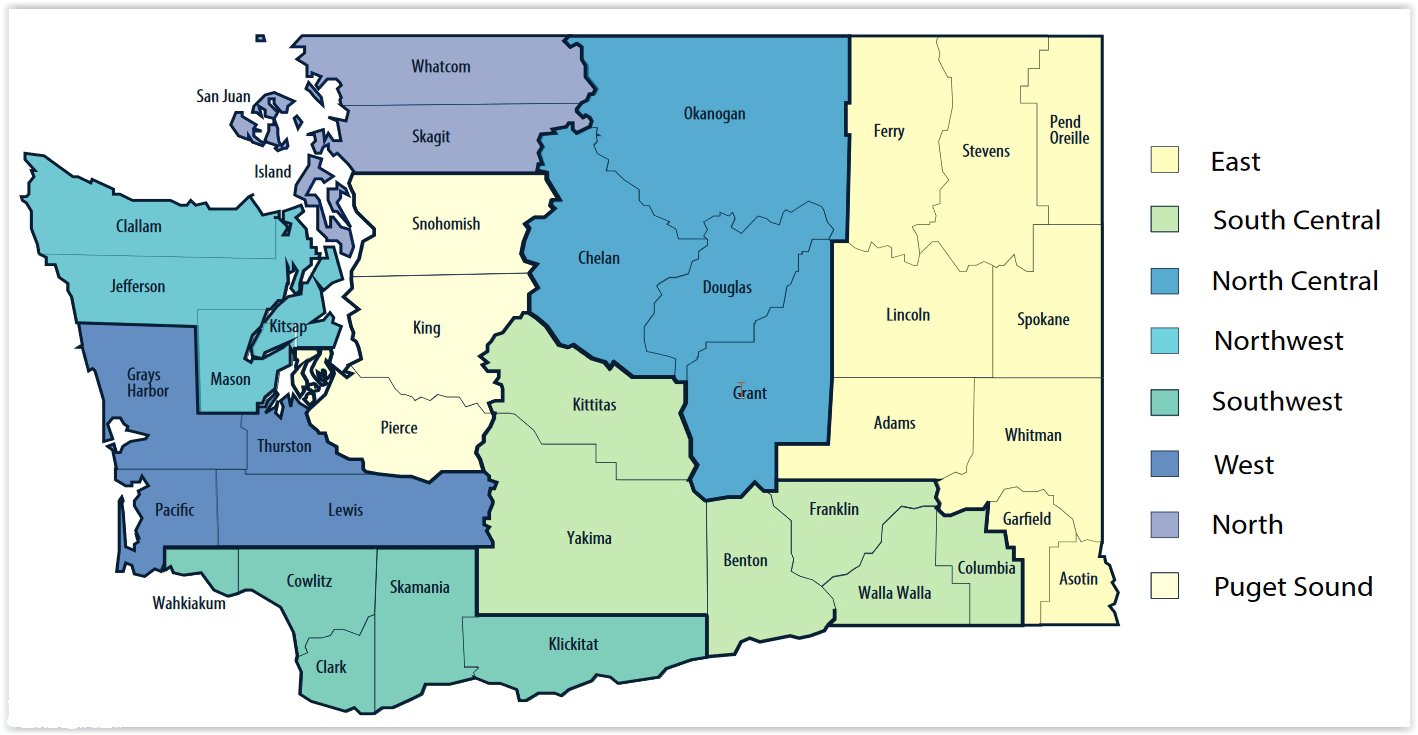 Phase 2 Washington State Zones for COVID Healthy Recovery Plan