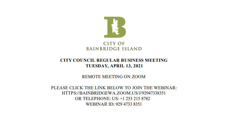 City of Bainbridge Island Council Meeting April 13, 2021