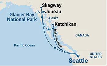 Seattle to Alaska Princess Cruises Map Summer 2021